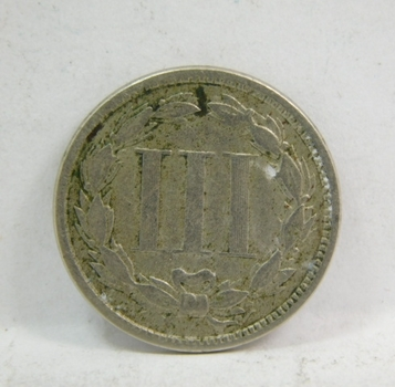 1865 Three Cent (3c) Nickel - Higher Grade Coin with LIBERTY Fully Visible