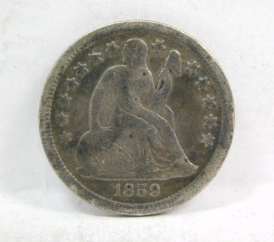 1859 Silver Seated Liberty Dime - Nice Detail on a Higher Grade Coin - LIBERTY Fully Visible