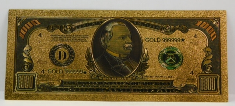 Gold Layered-1,000 Dollar Replica Note-BEAUTIFULLY Crafted & Great Stocking Stuffer!