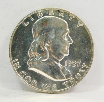 1957-D SILVER US Franklin Half Dollar-High Grade, Brilliant, Lustrous & Choice!