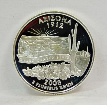 2008-S US SILVER PROOF Arizona State Quarter-GEM PROOF CONDITION