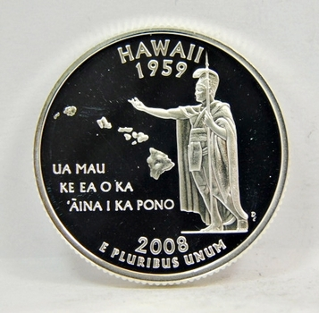 2008-S US SILVER PROOF Hawaii State Quarter-GEM PROOF CONDITION