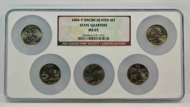 2004-P NGC Graded MS65 State Quarter Set  5 Coins P Mint 2004 State Quarters In NGC Multi-Coin Graded MS65 Holder! WOW!