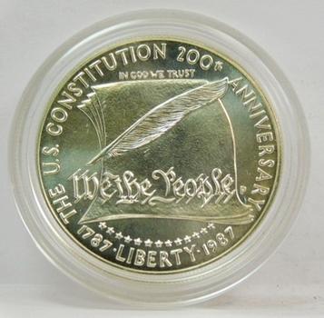 1987-P US Silver Dollar-US Constitution 200th Anniversary-Gem + Brilliant Uncirculated