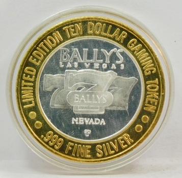 .999 Limited Edition Silver Strike! $10 Dollar Gem Proof Gaming Token-Bally's Hotel & Casino-Las Vegas, Nevada .999 Fine Silver