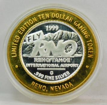 .999 Limited Edition Silver Strike! $10 Dollar Gem Proof Gaming Token-Reno/Tahoe International Airport-  Reno, Nevada .999 Fine Silver