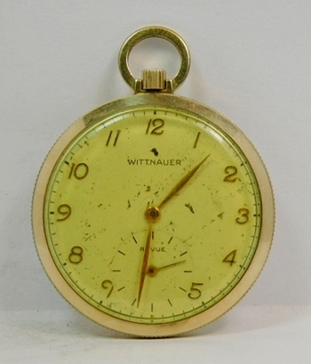 Beautiful Old Gold Filled Wittnauer Pocket Watch-This Watch Works Perfectly! About Silver Dollar Size-NIIICCCCEEEE!