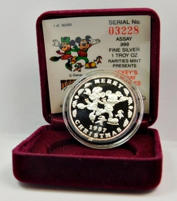 """Wonderful Stocking Stuffer!!! One Troy Ounce of .999 Fine Silver Disney Holiday Medallion """"MICKEY'S HOLIDAY TREASURES"""" - Serial #03228"""