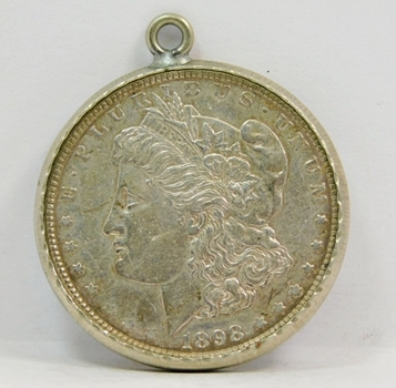 1898 Morgan Silver Dollar - Excellent Detail - In Bezel for Pendant