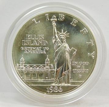 1986-P US Silver Dollar-Ellis Island Liberty Dollar-Gem + Brilliant Uncirculated