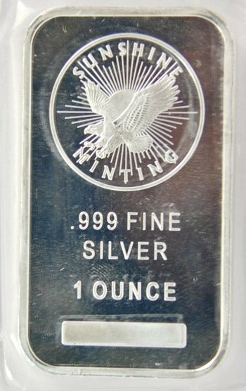 1 Ounce .999 Pure Silver Sunshine Mint Bar-Plastic Encased-Proof Condition