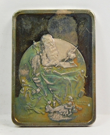 Norman Rockwell - One Troy Ounce .999 Fine Silver from the Hamilton Mint - SLUMBERING SANTA - 1975 Annual Christmas Ingot