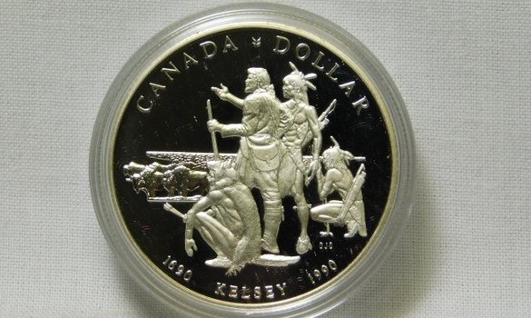 1990 Canada Henry Kelsey Exploration 300th Anniversary - Western Natives and Buffalo Scene Silver Dollar - Proof Condition in Original Mint Packaging