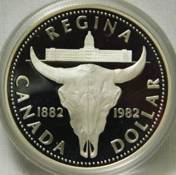1982 Canada Cattle Skull Silver Dollar - Proof Condition in Original Mint Packaging