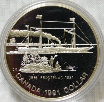1991 Canada S.S. Frontenac Steamer Ship 175th Anniversary Silver Dollar - Proof Condition in Original Mint Packaging