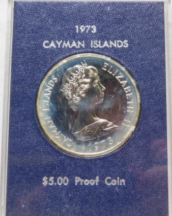 1973 $5 Cayman Islands - Over 1 oz of Fine Silver - Low Mintage of Only 17,000 - Proof Condition in Original Mint Case