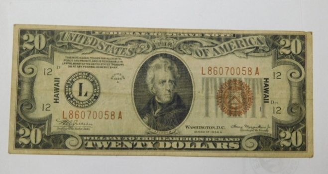 Series 1934A $20 Federal Reserve Note - World War II Emergency Issue for Hawaii