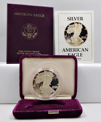 1988-S Proof American Silver Eagle - In Original Purple Velvet Box from the San Francisco Mint and Outside Cover Box with COA