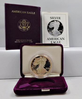 1989-S Proof American Silver Eagle - 1 Troy Ounce .999 Fine Silver in Beautiful Purple Velvet Box from the San Francisco Mint - Also Included is Outside Cover Box and COA