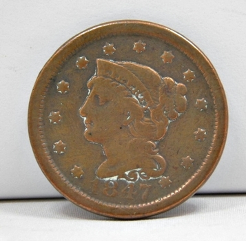 1847 Braided Hair Variety Large Cent - Nice Detail - LIBERTY Visible