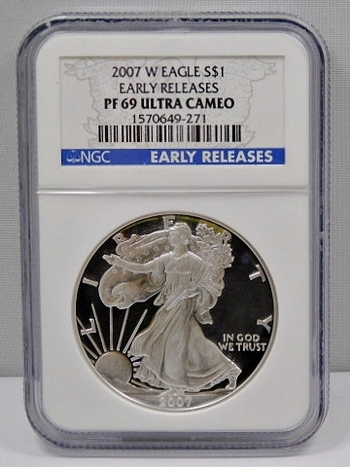 2007-W Proof American Silver Eagle - Early Releases Coin - Graded PF69 ULTRA CAMEO by NGC - West Point Minted