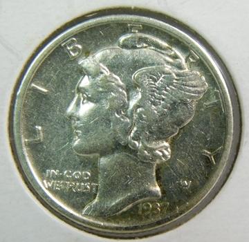 HIGH GRADE 1937-D Silver Mercury Dime - Denver Minted
