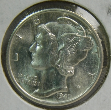 HIGH GRADE 1941-S Silver Mercury Dime - San Francisco Minted - Brilliant Uncirculated