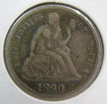 1890 Seated Liberty Silver Dime w/ Full LIBERTY