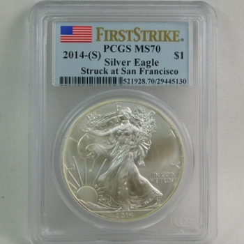 2014-S American Silver Eagle - First Strike Coin - Graded MS70 by PCGS - Struck at the San Francisco Mint