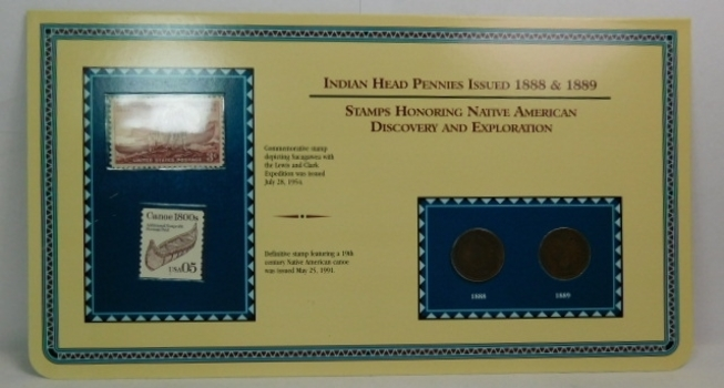 1888 & 1889 Indian Head Penny Set w/ Stamps Honoring Native American Discovery and Exploration