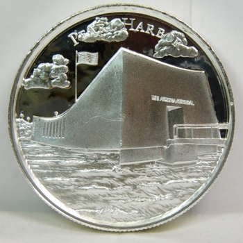 Rare Elemental 2 oz .999 Fine Silver Pearl Harbor - American Landmarks - High Relief Commemorative