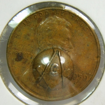 1959-D Masonic Punched Lincoln Cent