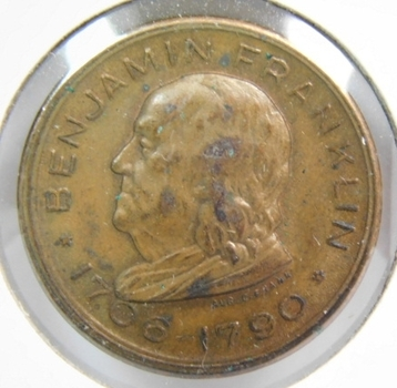 1706-1790 Benjamin Franklin Memorial - Franklin Institute Souvenir Token