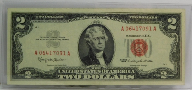 1963 $2 Red Seal U.S. Legal Tender Note - Crisp Uncirculated Note