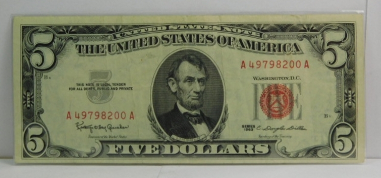 Series 1963 $5 Red Seal Note - High Grade - Crisp Paper