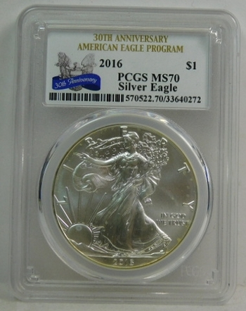 2016 American Silver Eagle - 30th Anniversary of the Eagle - Graded MS70 by PCGS - Pure White Coin
