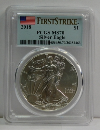 2018 American Silver Eagle - First Strike - Graded MS70 by PCGS - Pure White Coin