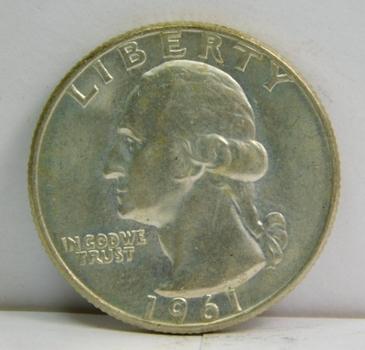 1961-D Silver Washington Quarter - Denver Minted - Excellent Detail
