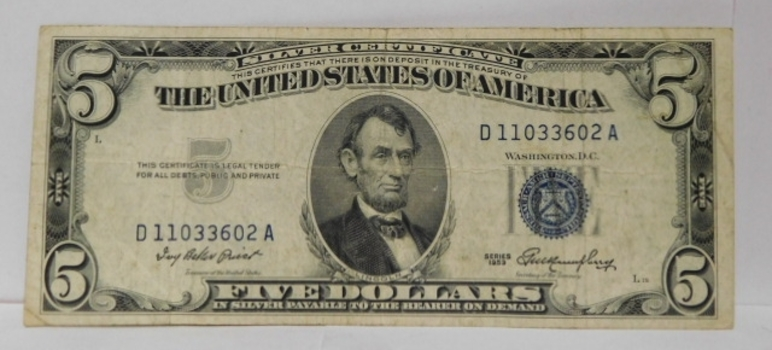 1953 $5 Silver Certificate - Payable in Silver to the Bearer on Demand