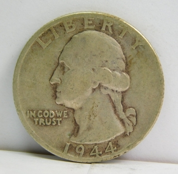 1944 Silver Washington Quarter - Very Well Outlined