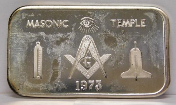 1973 Masonic Temple 1 oz .999 Fine Silver Art Bar - Mother Lode Mint