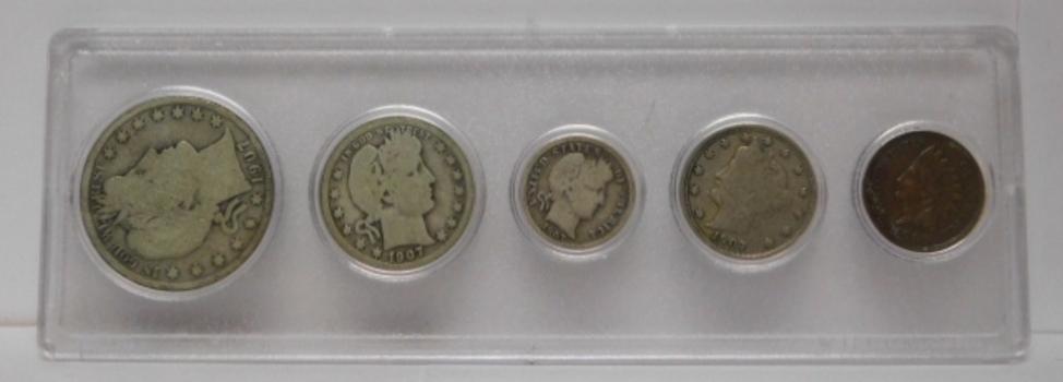 1907 Obsolete Silver Coin Set - 1907-S Barber Half Dollar, 1907-O Barber Quarter, 1907 Barber Dime, 1907 V Nickel and 1907 Indian Head Cent