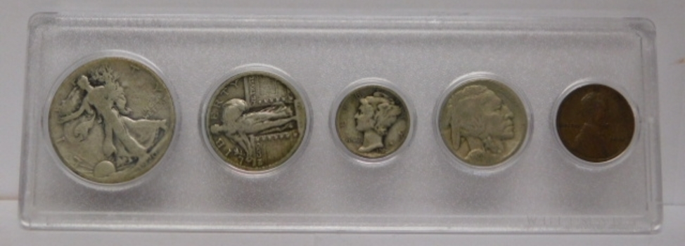 1920 Obsolete Silver Coin Set - 1920-S Walking Liberty Half Dollar, 1920 Standing Liberty Quarter, 1920 Mercury Dime, 1920 Buffalo Nickel and 1920 Lincoln Wheat Cent