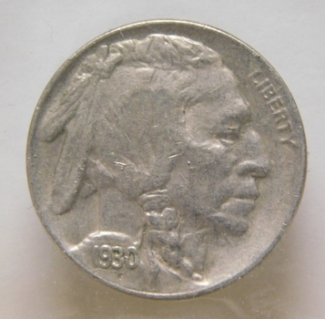NICE COIN!!! - 1930-S Buffalo Nickel - Nice Detail with Full Horn Visible - San Francisco Minted