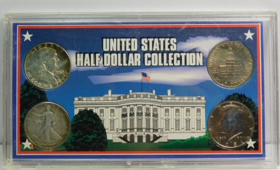United States Half Dollar Collection - Silver 1963 Franklin, Silver 1944-D Walking Liberty, 1976 Bicentennial Kennedy and 1981-P Kennedy Half Dollars - In Plastic Holder