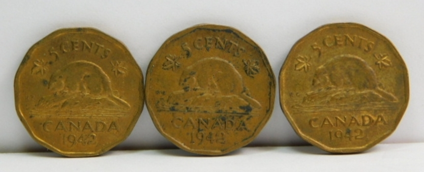 Lot of 12 Canada 5 Cent Coins 1942-1962