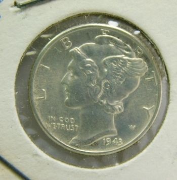 1943 Brilliant Uncirculated Silver Mercury Head Dime - Excellent Detail and Luster - Philadelphia Minted
