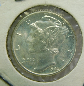 1944 Brilliant Uncirculated Silver Mercury Head Dime - Excellent Detail and Luster - Philadelphia Minted
