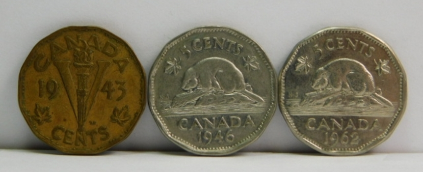 Lot of 7 Canada 5 Cent Coins 1940-1962