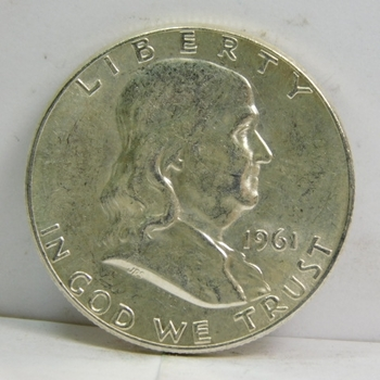1961 Silver Franklin Half Dollar - Excellent Detail! and Luster - Struck at the Philadelphia Mint